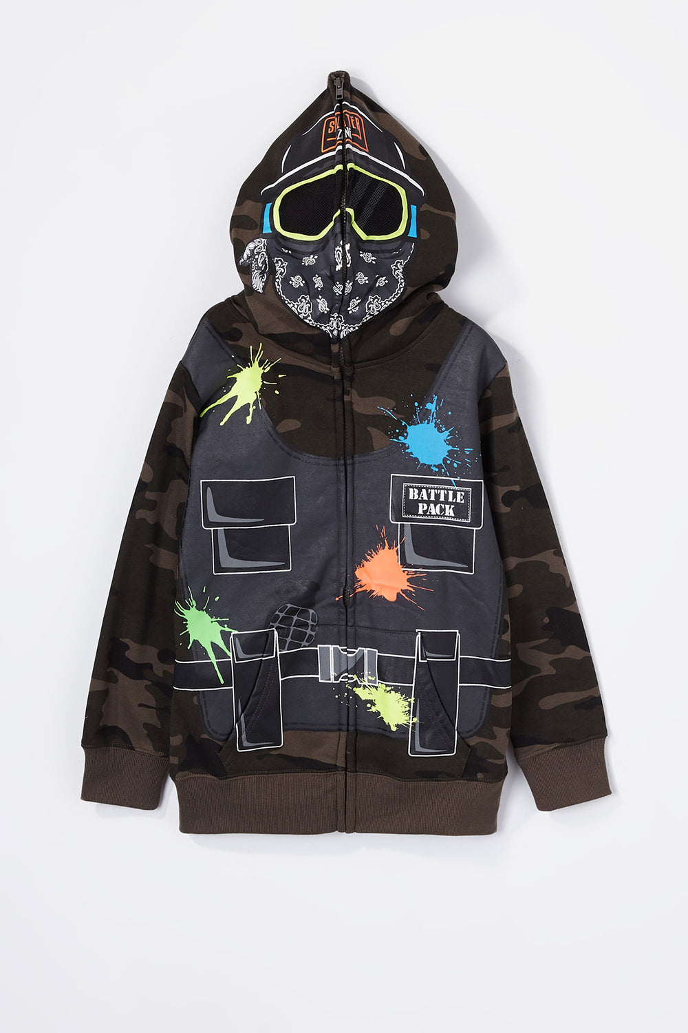 Boys Paintballer Peeper Zip-Up Hoodie Camouflage