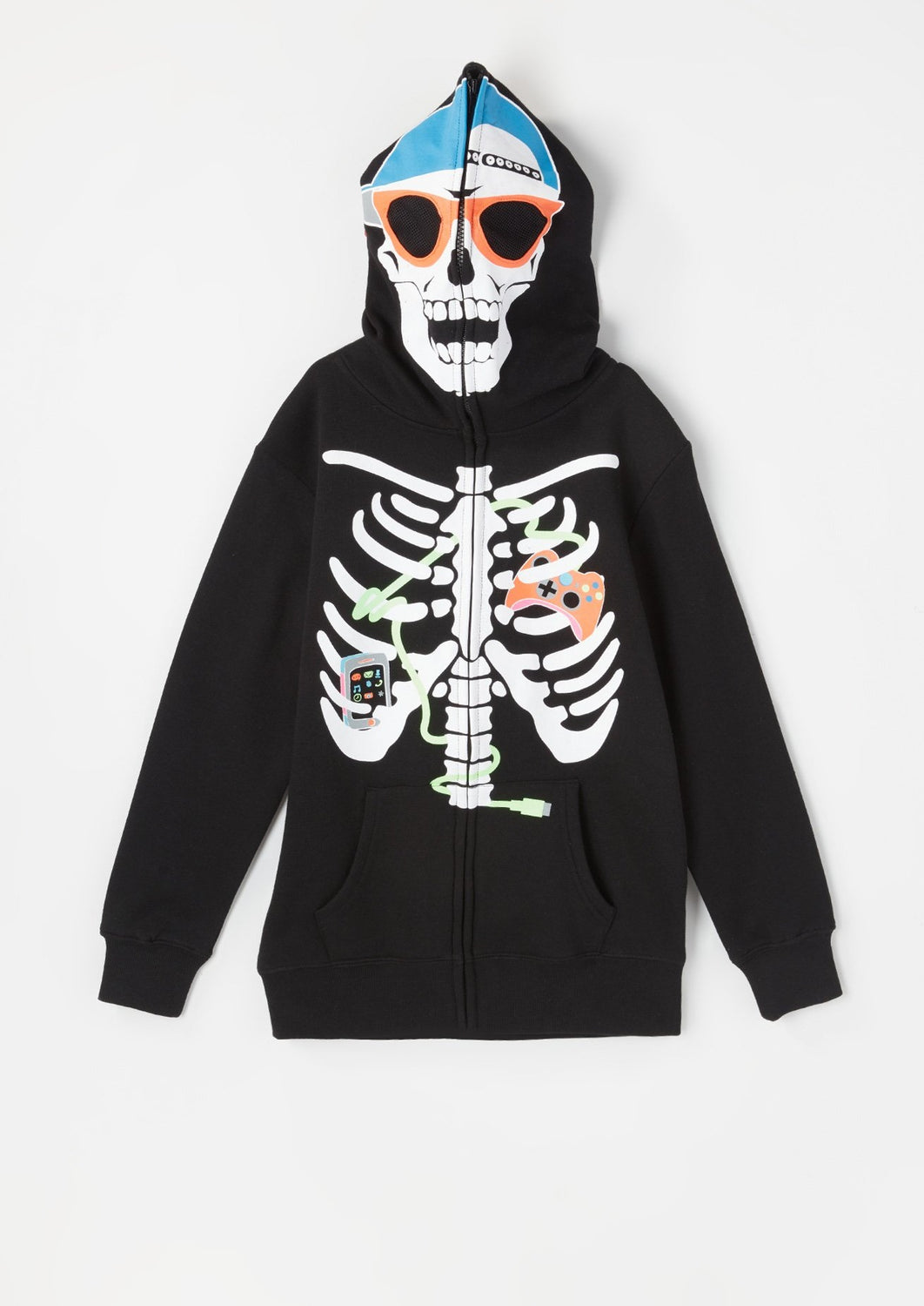Youth Skeleton Gamer Peeper Hoodie Black