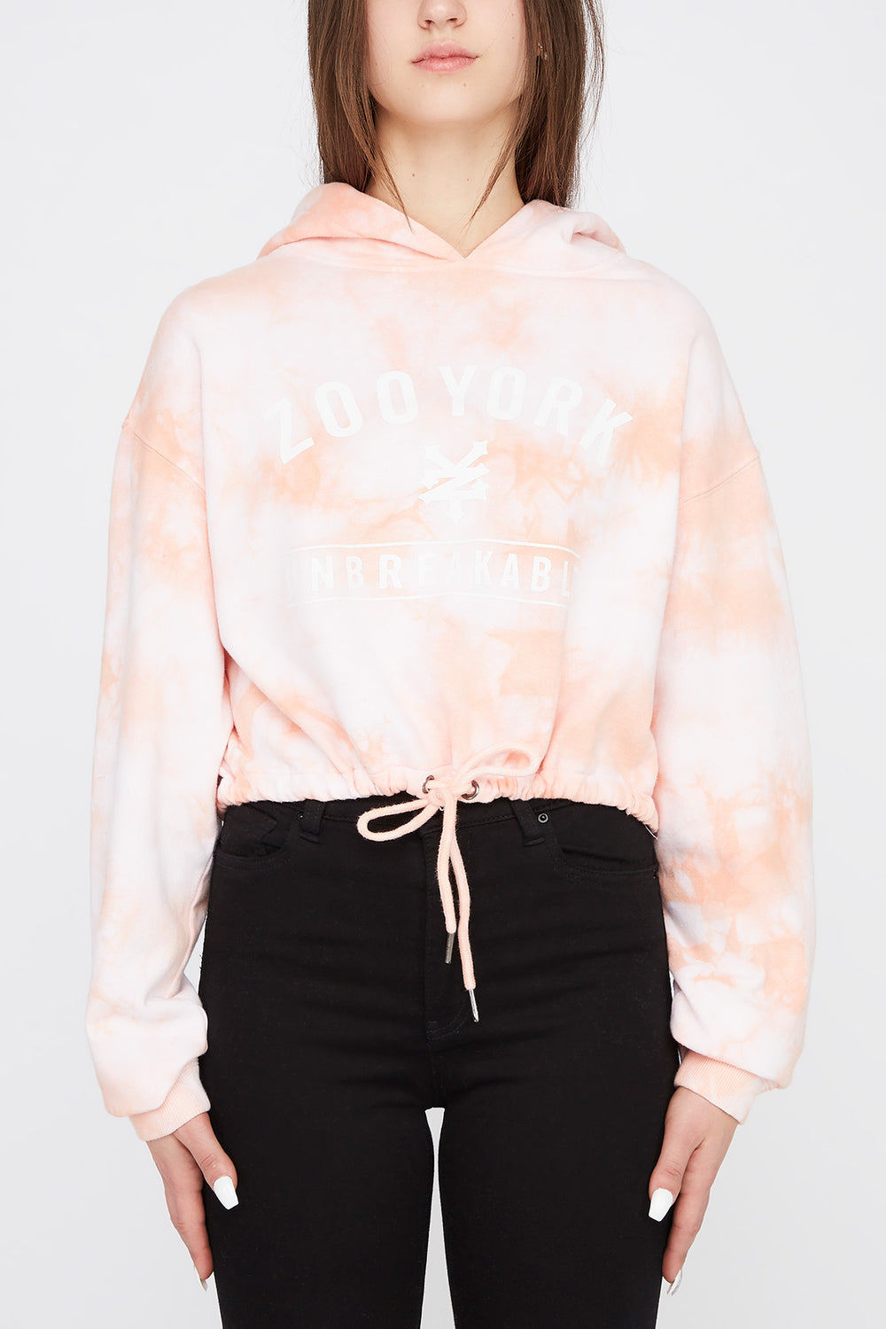 Zoo York Womens Pastel Tie-Dye Cropped Hoodie Peach