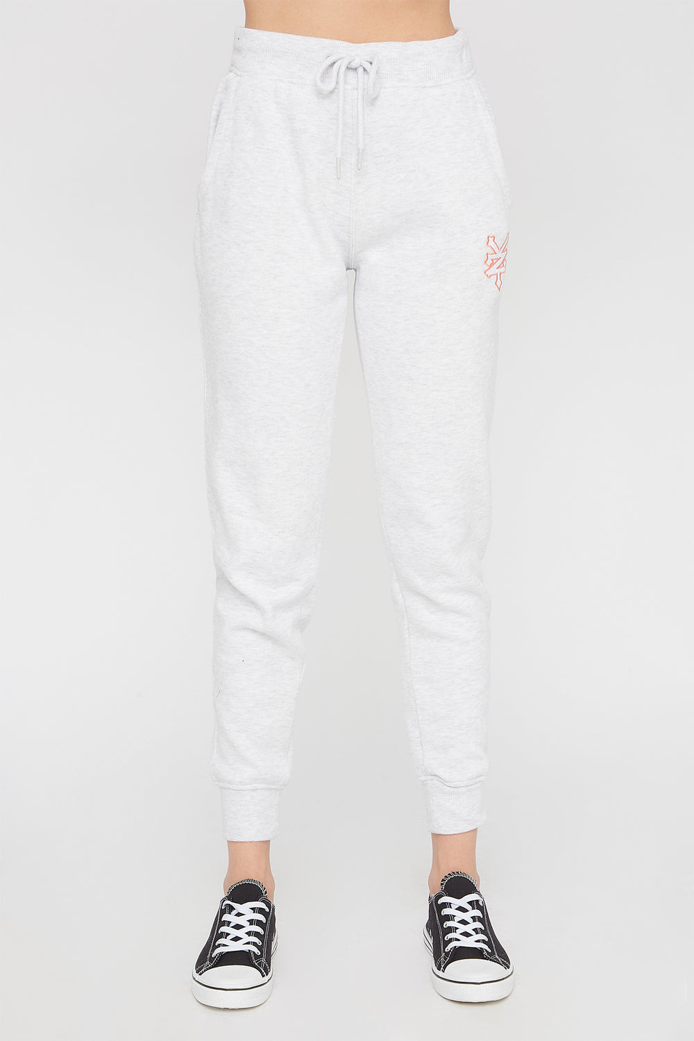 Zoo York Womens Embroidered Pastel Logo Jogger Oatmeal