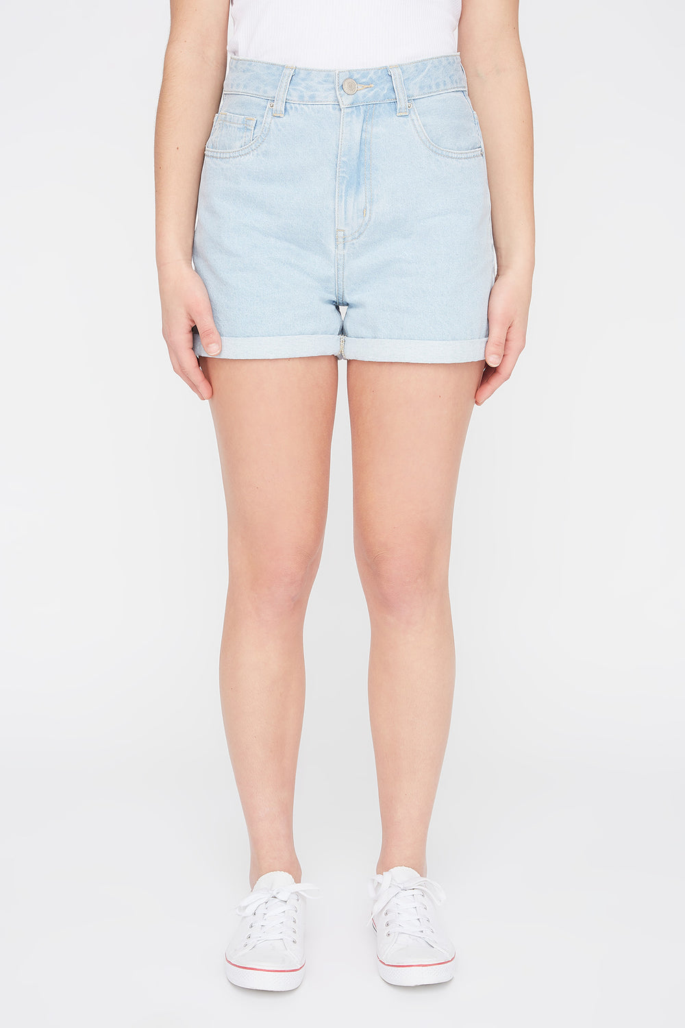 Zoo York Womens Light Wash Mom Jean Short Light Denim Blue