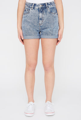 Zoo York Womens Acid Wash Mom Jean Short