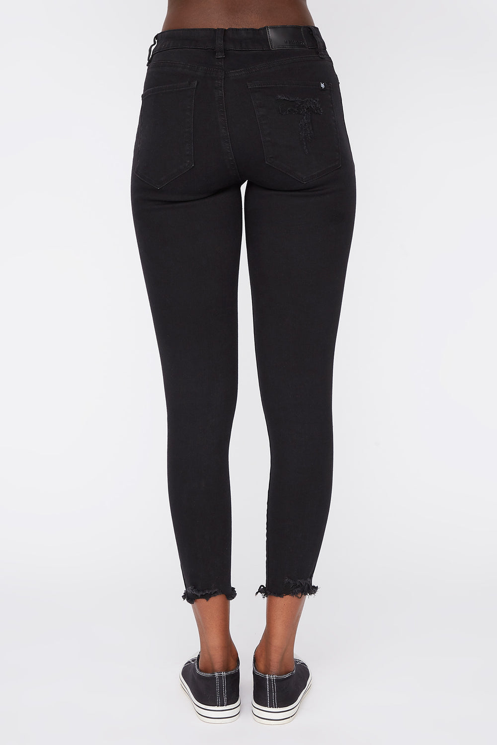 Zoo York Womens Cropped High Rise Jeans Black