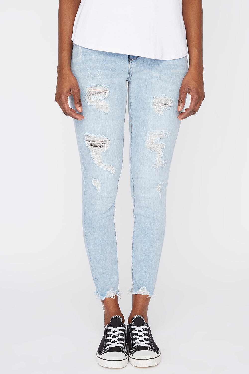 Zoo York Womens Cropped High Rise Jeans Light Denim Blue