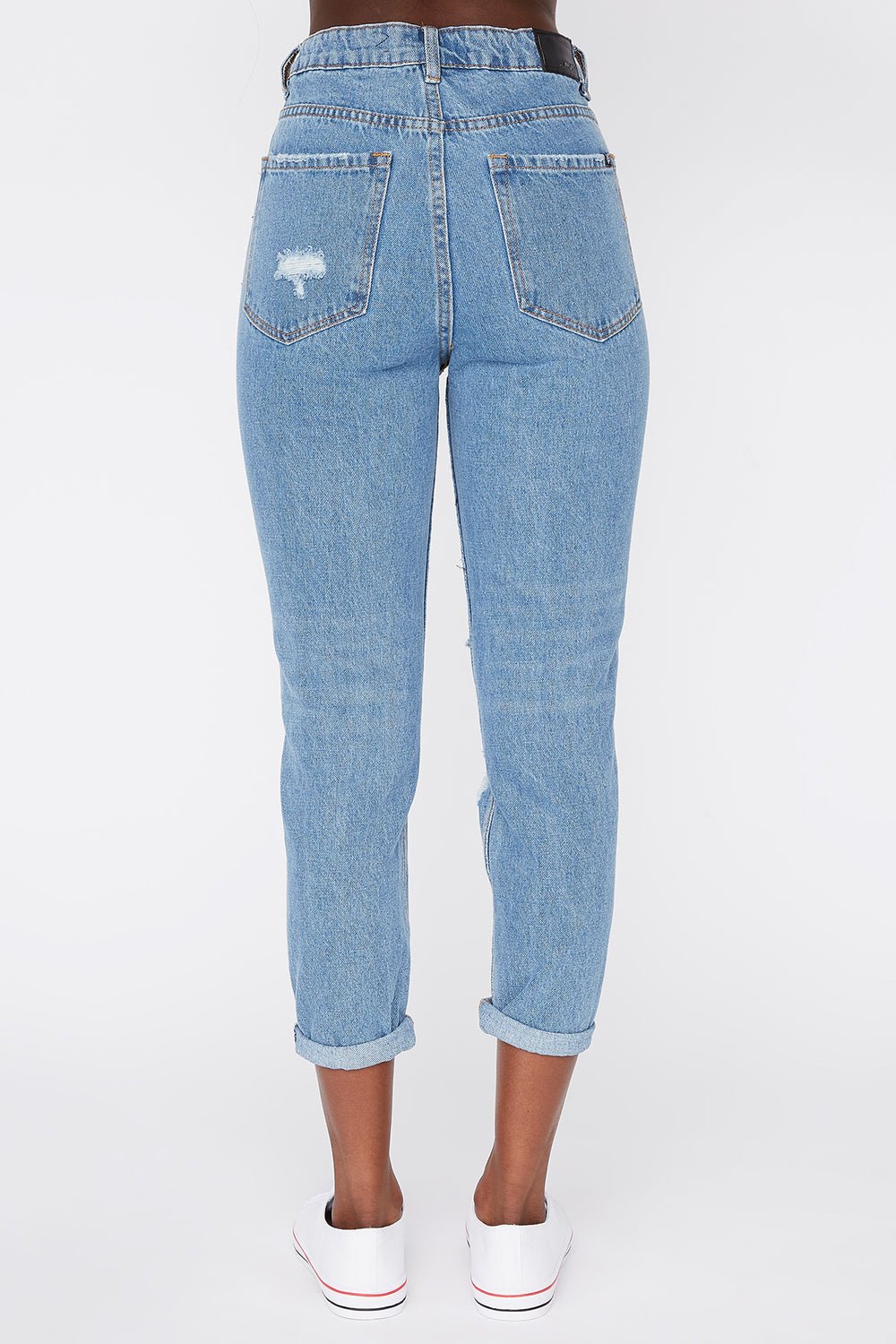 Zoo York Womens Cropped Mom Jeans Medium Blue