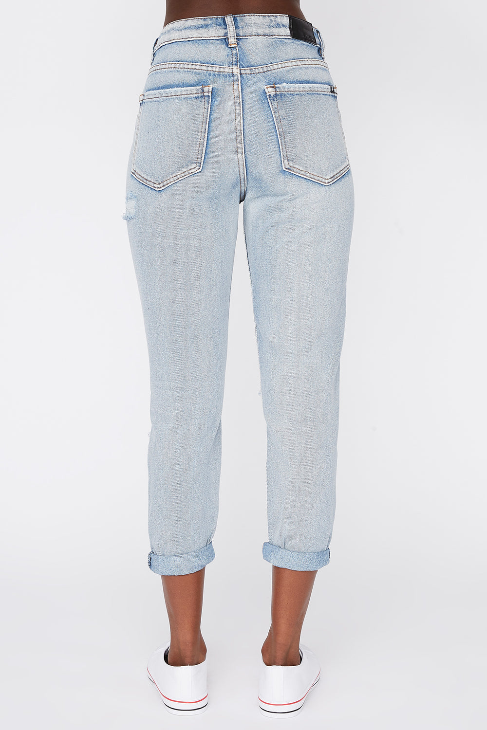 Zoo York Womens Cropped Mom Jeans Sky Blue