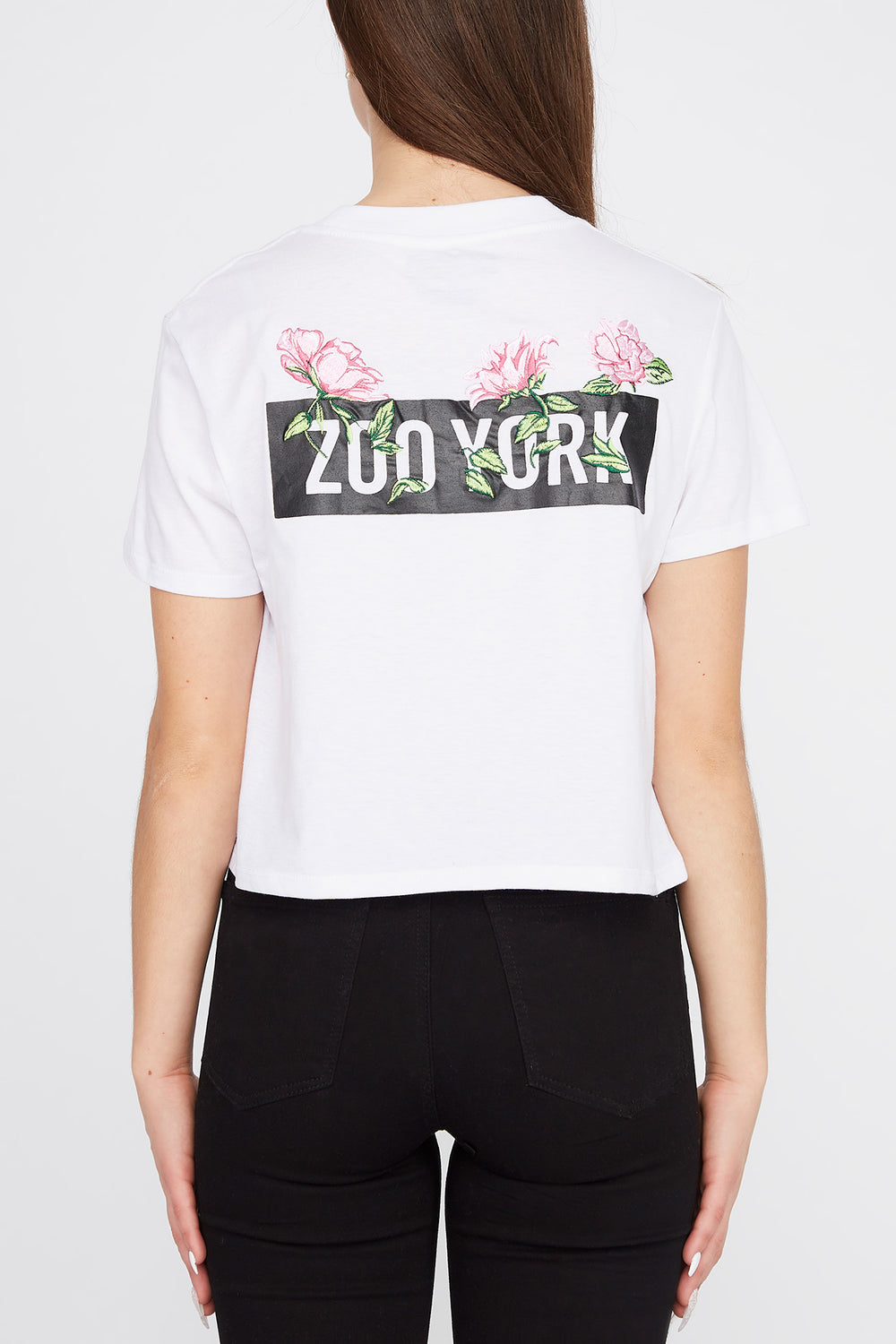 Zoo York Womens Rose Logo Cropped T-Shirt White