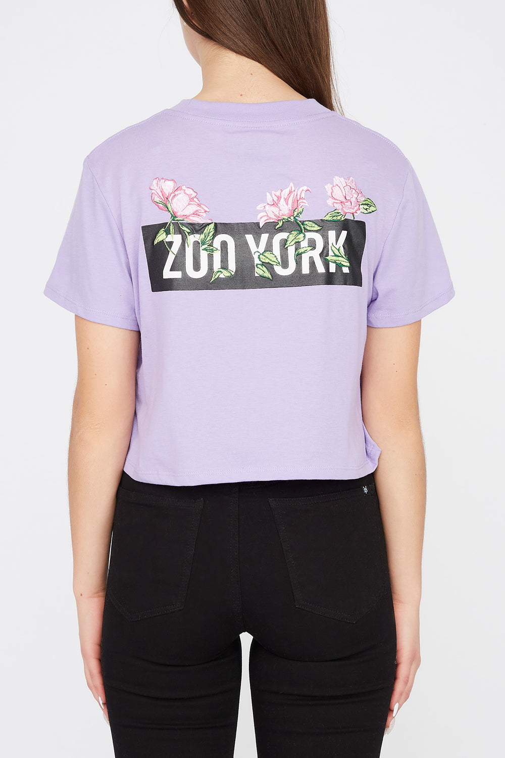 T-Shirt Court Logo Roses Brodées Zoo York Femme Lilas
