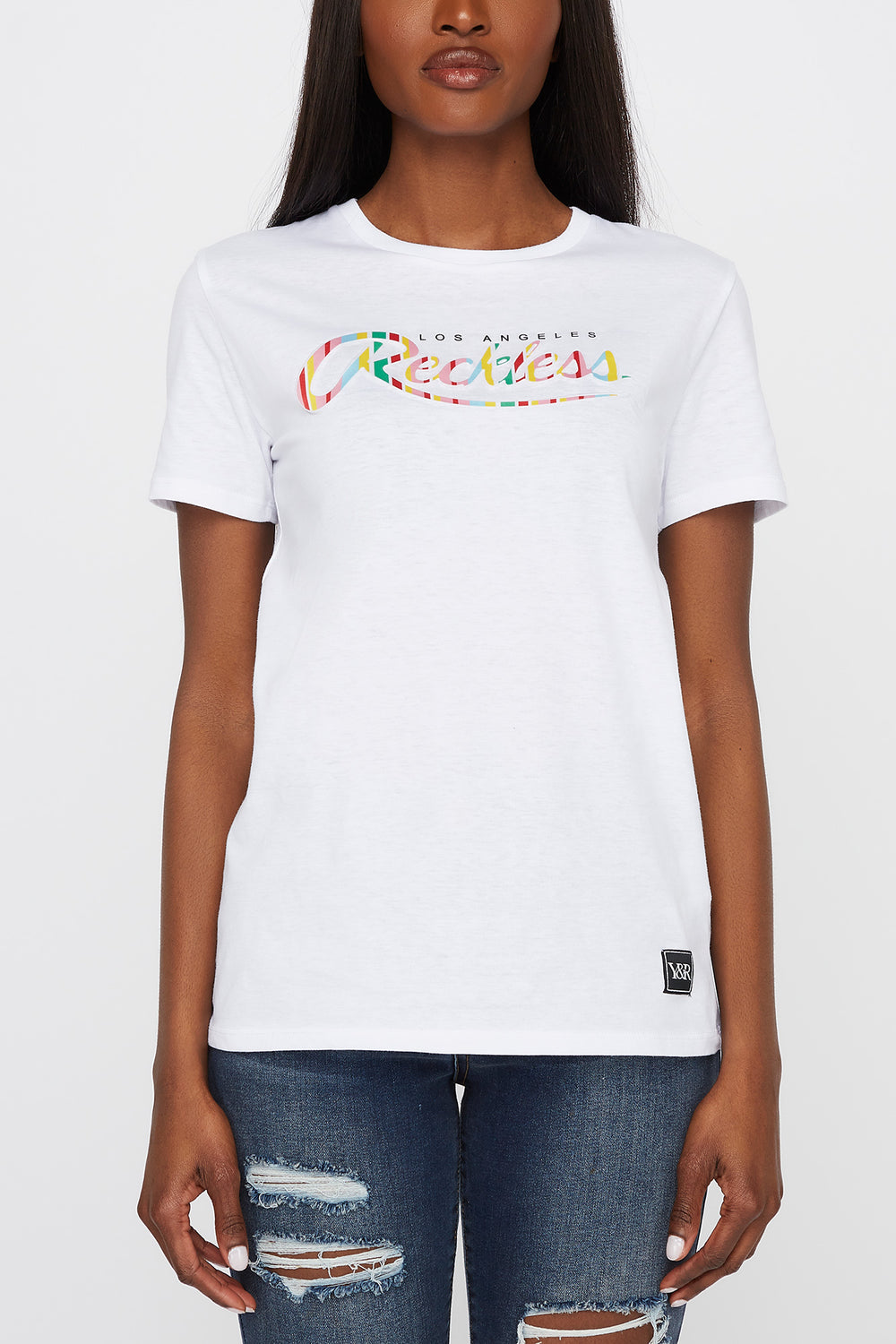 Young & Reckless Womens Textured Logo T-Shirt White