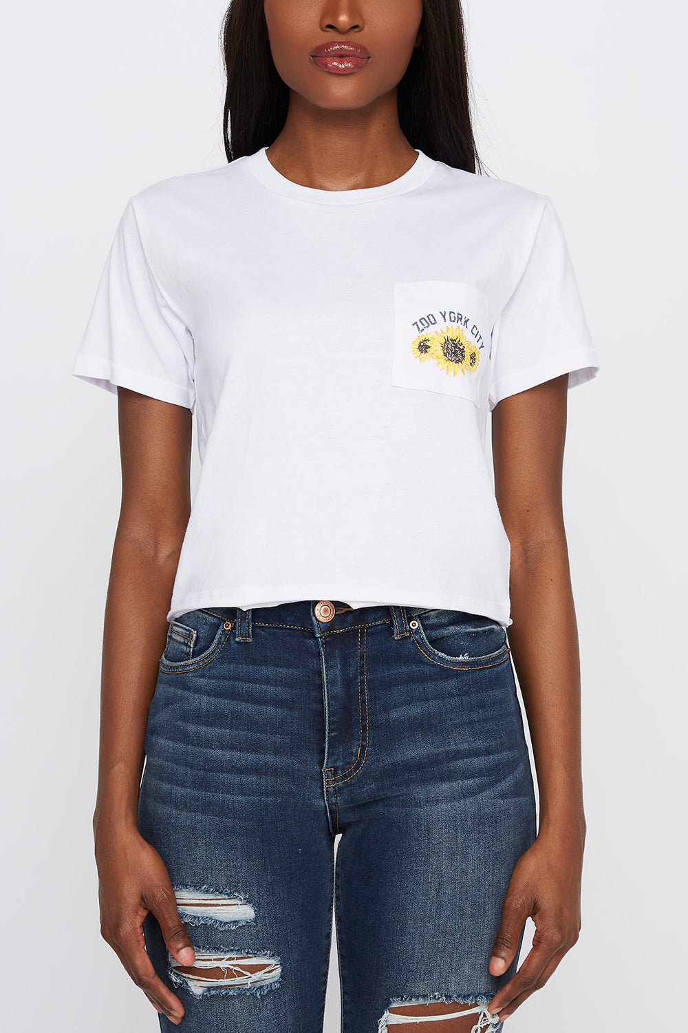 Zoo York Womens Sunflower Pocket T-Shirt White