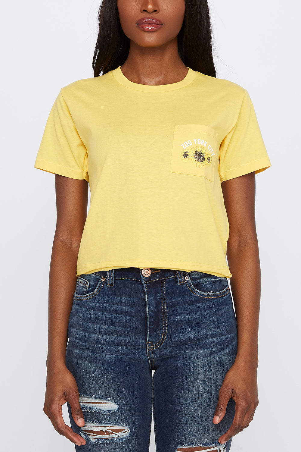 Zoo York Womens Sunflower Pocket T-Shirt Yellow