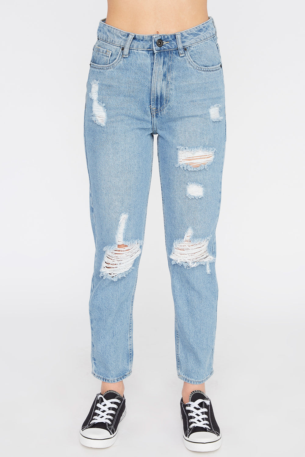 Zoo York Womens Distressed Light Wash Mom Jeans Medium Blue