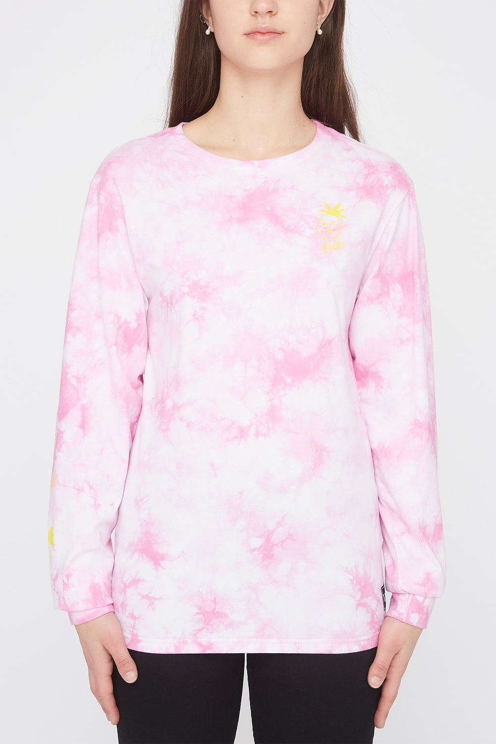Young & Reckless Womens Fruit Tie-Dye Long Sleeve Shirt Pink