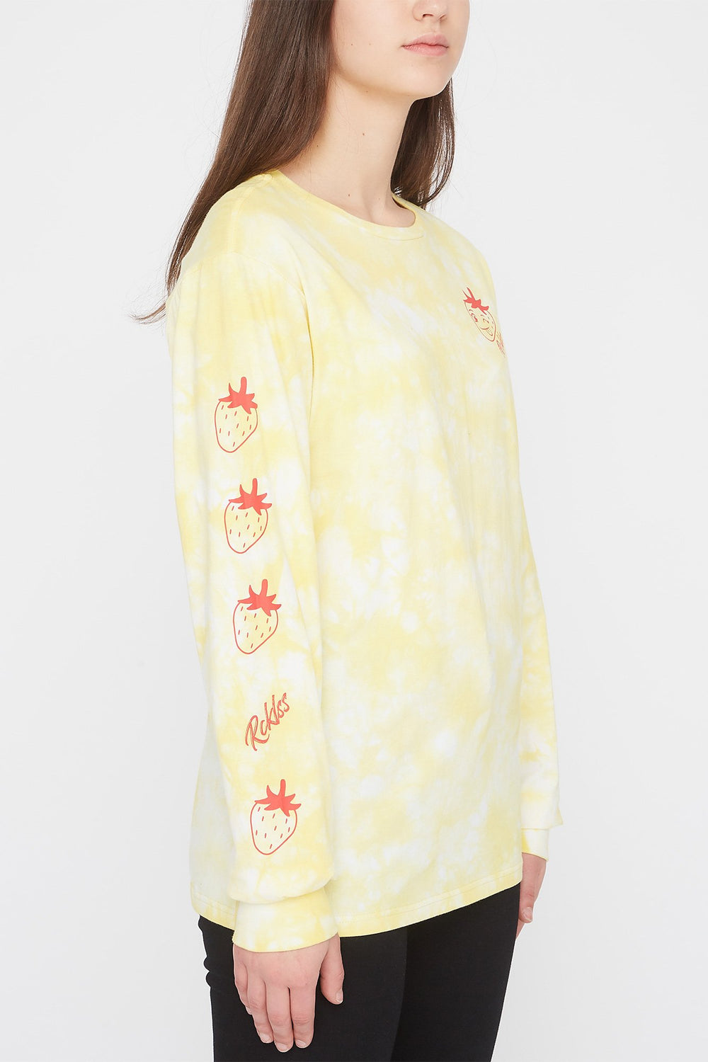 Young & Reckless Womens Fruit Tie-Dye Long Sleeve Shirt Yellow