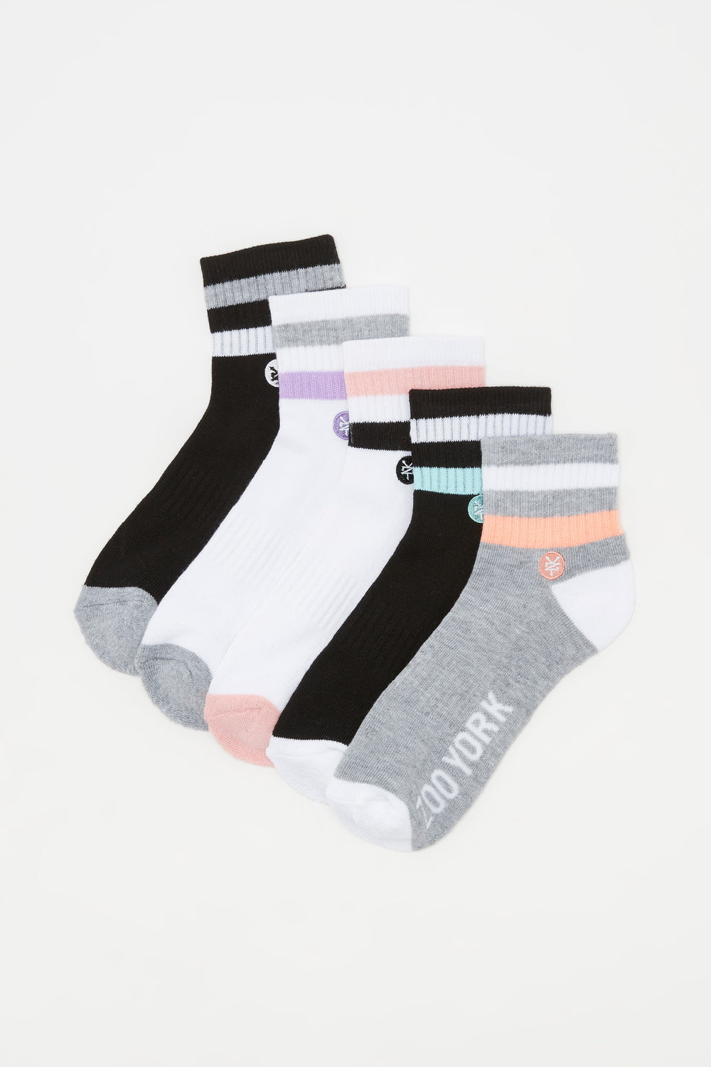 Zoo York Womens Ankle Socks (5 Pairs) Multi