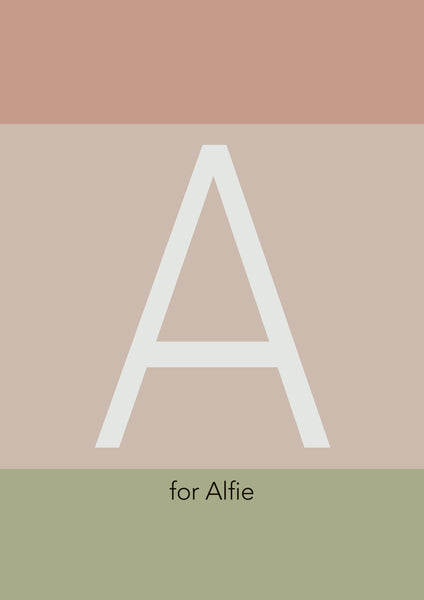 Personalised Initial Print - Earthy Colour Blocks