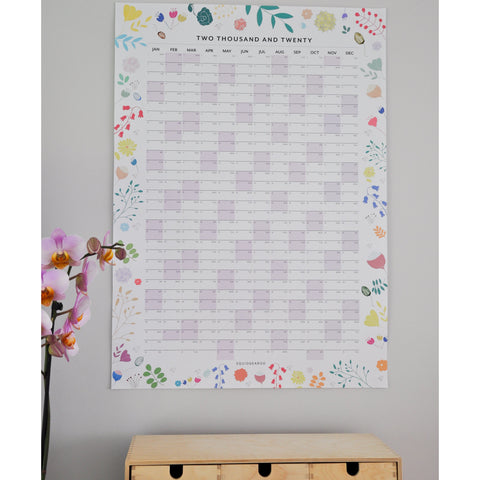 PREORDER: 2020 Botanical Wall Planner - Pastels