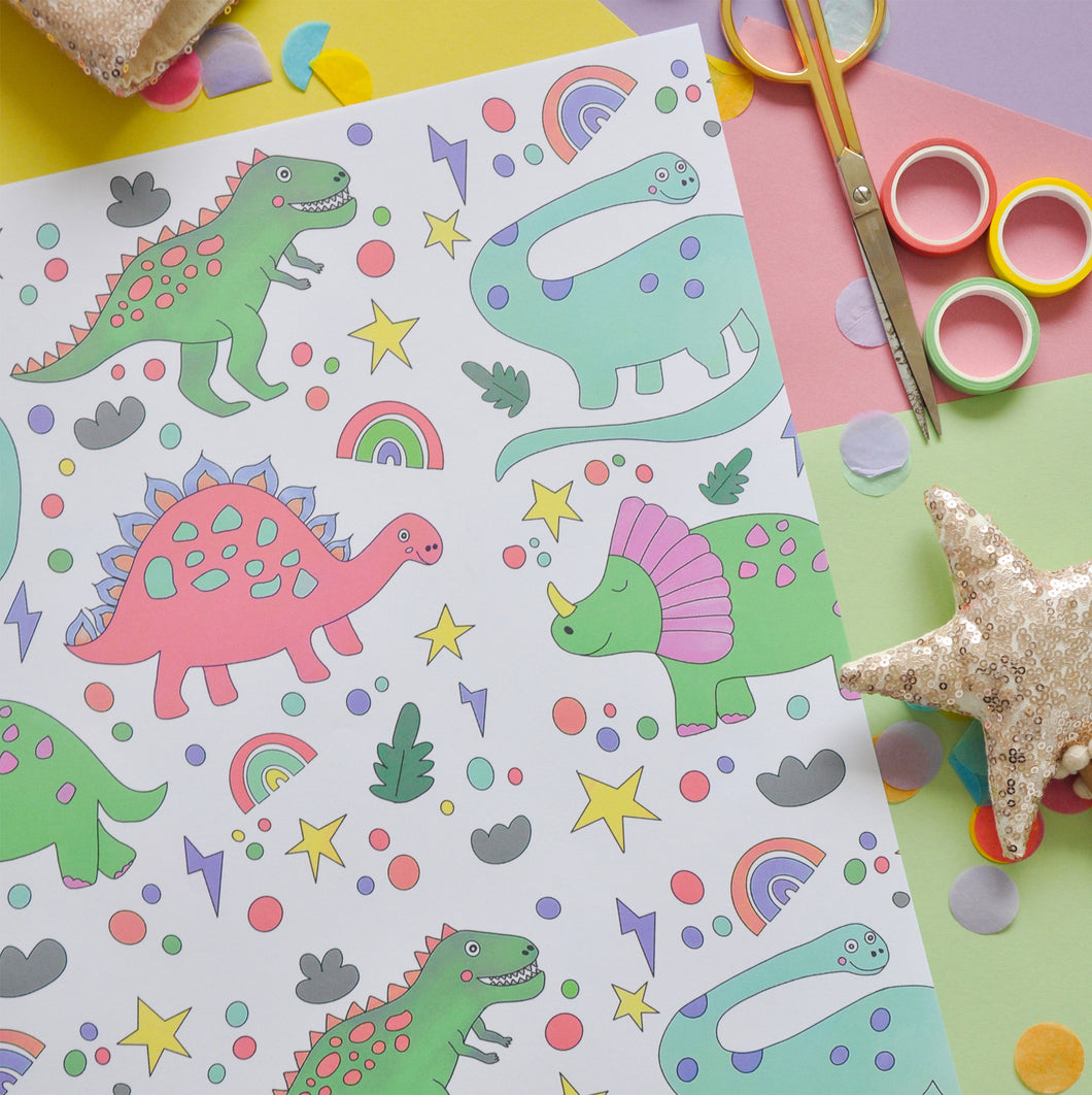 Fun Dinosaur Wrapping Paper - Pack of 3 Sheets (Deep)