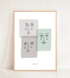 Contemporary Faces - Muted Blocks