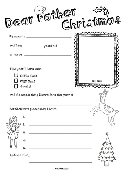 FREE downloadable Letter to Santa/Father Christmas