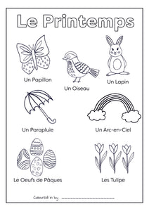 Le Printemps (Spring) - French Colouring Printable (Download & Print & Post)