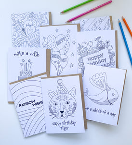 Pick & Mix Colouring In Birthday Cards (Pack of 8, 6 or 4)