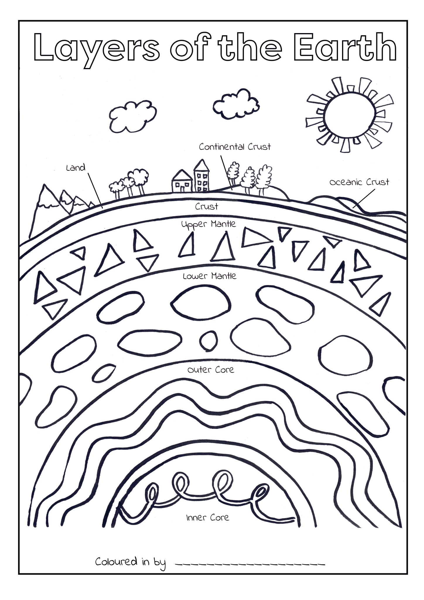 Layers of the Earth Colouring Printable (Download & Print & Post)
