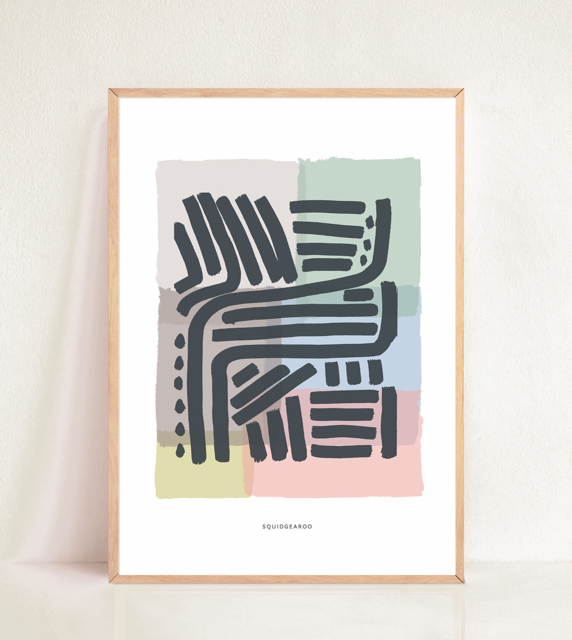 Lines & Curves Abstract Print - Colour Block