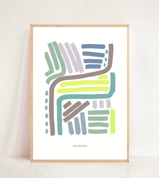 Lines & Curves Abstract Print - Colour