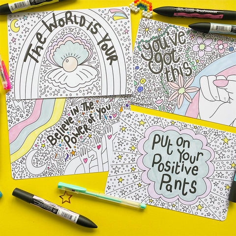 8 Motivational Colouring Postcards