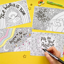 Load image into Gallery viewer, 8 Motivational Colouring Postcards