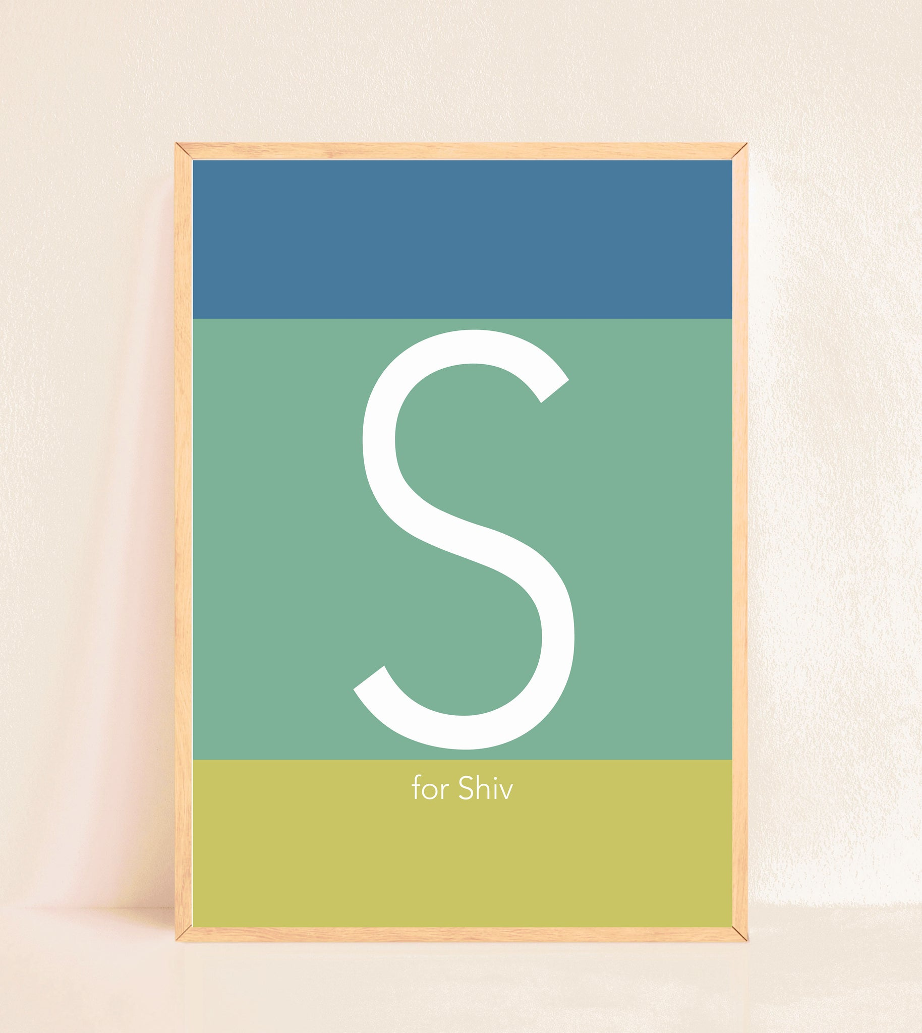 Personalised Initial Print - Blue & green stripes
