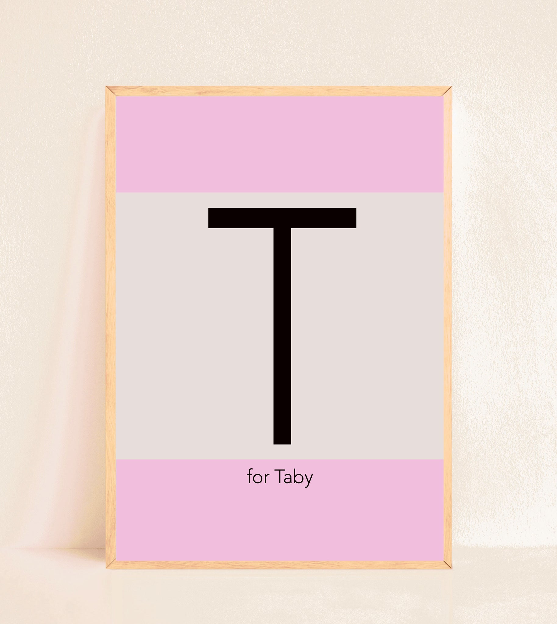 Personalised Initial Print - Pink stripes
