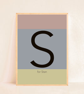 Personalised Initial Print - Muted Colour Blocks