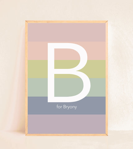 Personalised Initial Print - Stripy Muted Rainbow