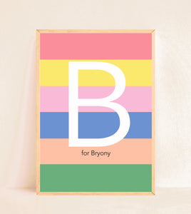 Personalised Initial Print - Stripy Rainbow Brights