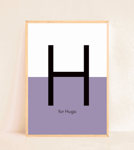 Personalised Initial Print - Half n Half Purple