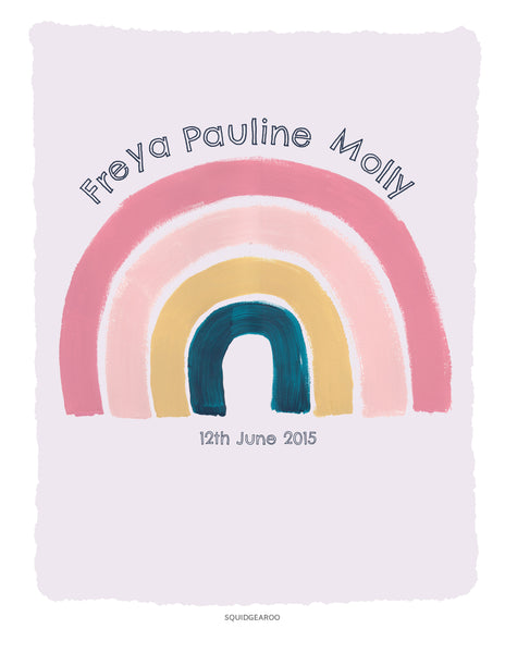 Personalised Arc en ciel - Pinks & Teal