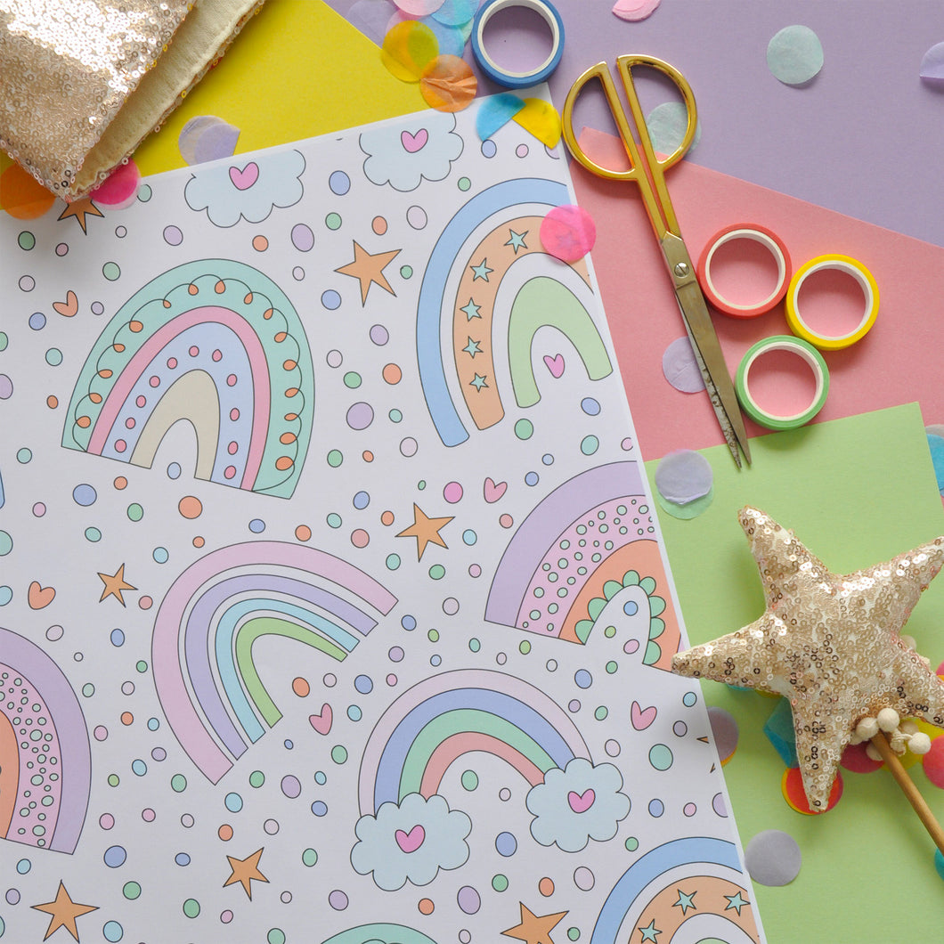 Fun Rainbow Wrapping Paper - 3 Sheets
