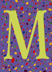 Multi-Coloured Dalmatian Initial Print - Muted Green