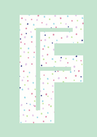 Rainbow Dot's Initial Print - Mint Green