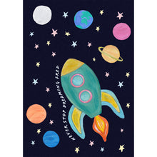 Load image into Gallery viewer, Space rocket children's print with dark blue speckled background and colourful planets and stars