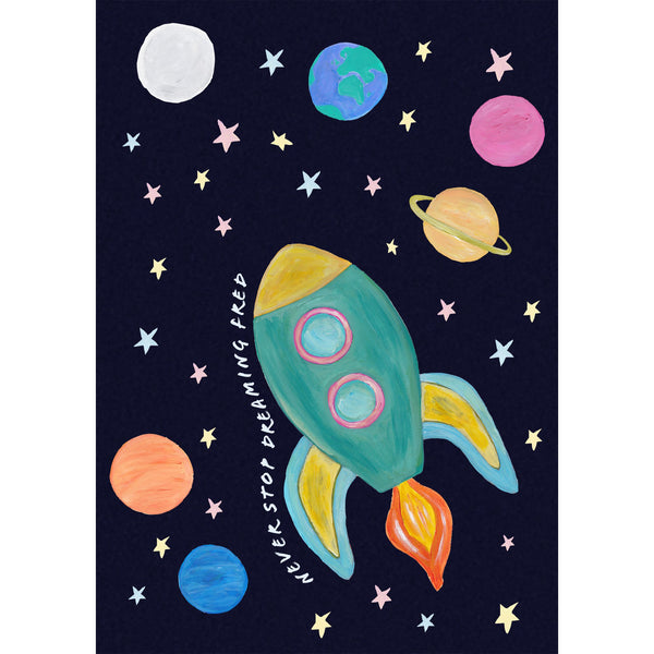 Space rocket children's print with dark blue speckled background and colourful planets and stars