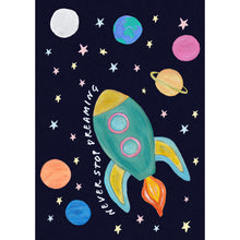 Load image into Gallery viewer, Space rocket childrens print with dark blue speckled background and colourful planets and stars. Without personalisation.