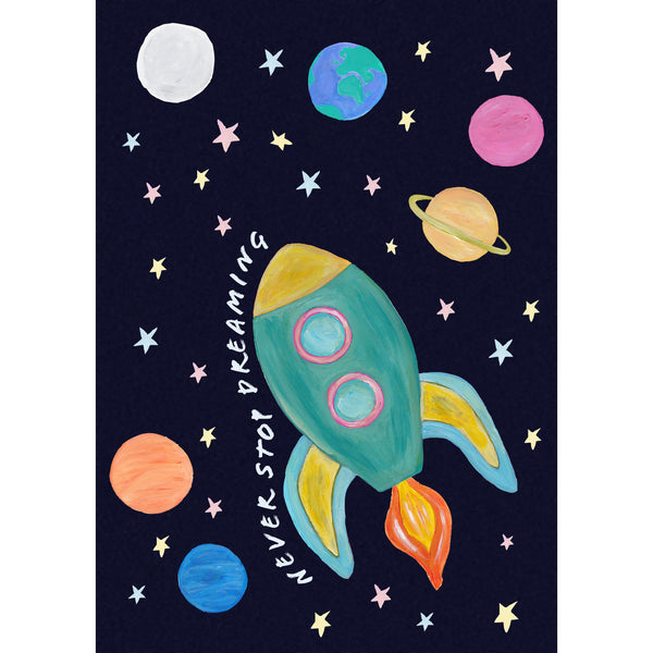 Space rocket childrens print with dark blue speckled background and colourful planets and stars. Without personalisation.