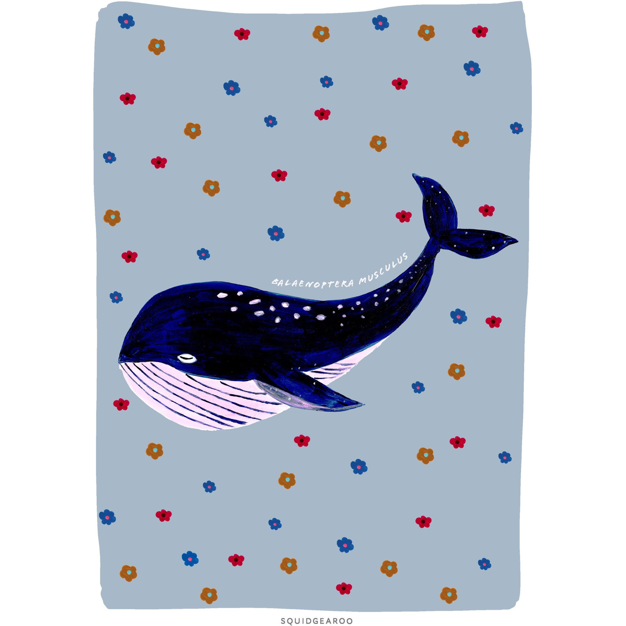 Retro Whale - Muted Blue