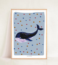 Load image into Gallery viewer, Retro Whale - Muted Blue