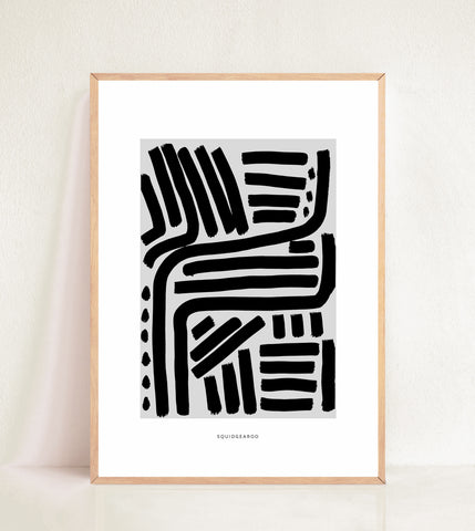 Lines & Curves Abstract Print - Black & Grey