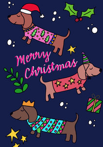 Festive Sausage Dogs Christmas (Pack of 4)