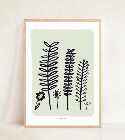 Abstract Fern & Flora - Painted Border